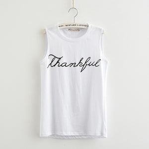 [100% Cotton] 2017 Summer T-Shirt New Fashion Letter Print Thankful Jersey Women Tank Tops Sleeveless Plus Size Loose Knitwear-geekbuyig