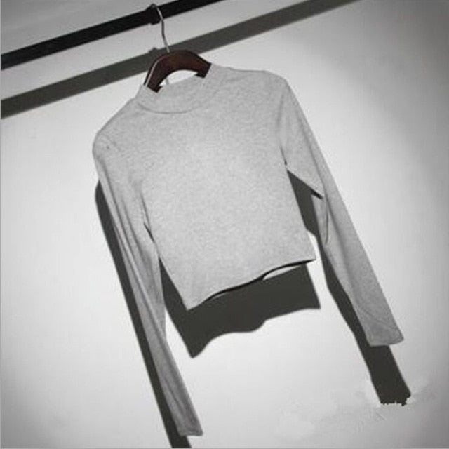 Women Slim Soft Elastic Turtleneck Solid Crop Tops Girl Full Sleeve Short T-Shirts Tees-geekbuyig
