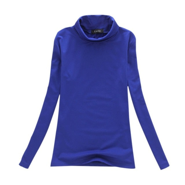 Fashion Solid Colors Women T-shirts Long Sleeve Slim Turtle Neck Shirts Women Tops-geekbuyig