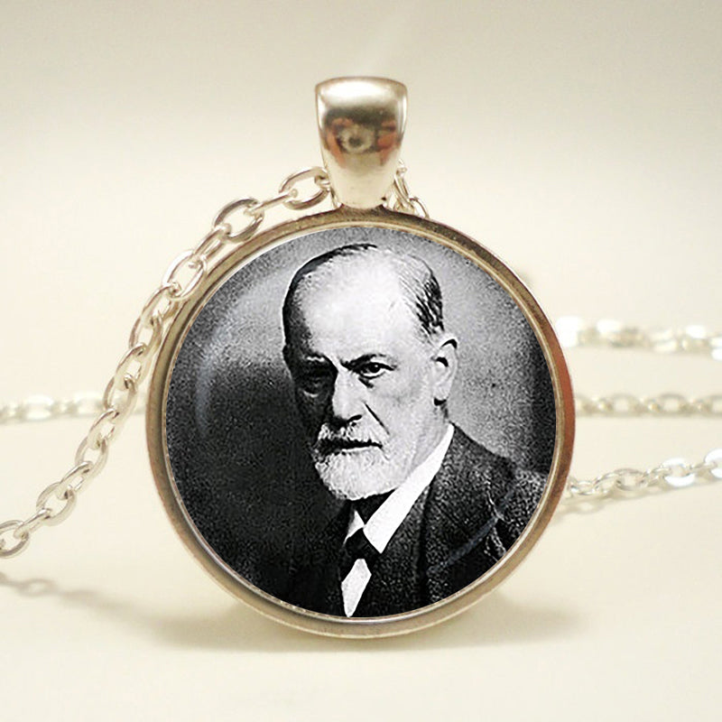 """Sigmund Freud pendant. Psychoanalysis necklace. Psychology, Famous People, genius jewelry, ""sliver plated,christmas gift-geekbuyig"