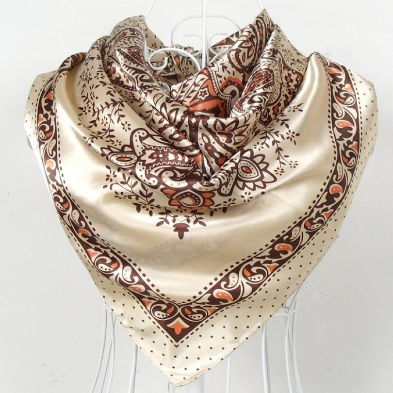 Beige Yellow Silk Scarf 2015 New Design Ladies Large Square Sation Scarves Printed Spring Autumn Female Paisley Scarves Wraps-geekbuyig