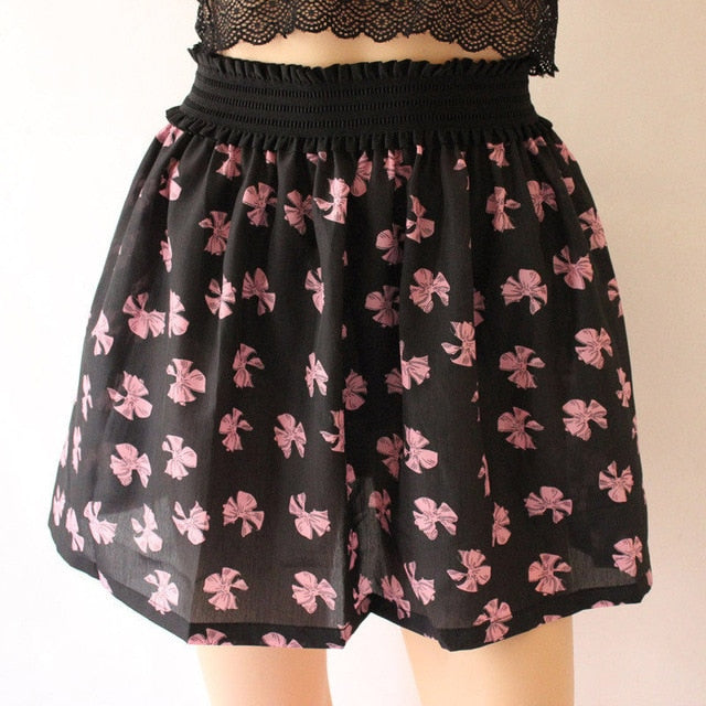 Fashion 1 Pc Women Summer skirt one size Vintage Mini Chiffon Print Pleated High Waist Skirts Short Skirt-geekbuyig