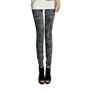 Fashion Women Skintight Abrasion Print Imitated Jeans Trendy Leggings Elastic Pants Ankle-Length Thin Female Trousers Sexy Pants-geekbuyig