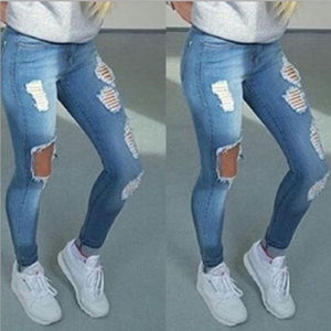 Boyfriend Hole Ripped Jeans Women Pants Cool Denim Vintage Straight Jeans For Girl High Waist Casual Pants Female Slim Jeans-geekbuyig