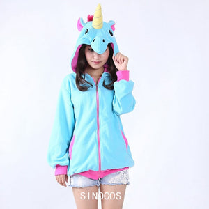 Unicorn Hoodie Novelty Kigurumi Anime Cartoon Hoodies Unicorn Sweatshirts Tracksuits Hooded Jacket Adult Animal Cosplay Costume-geekbuyig