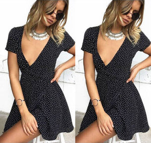 Women tunic dress little dot short sleeve loose Chiffon Beach Summer Lady girl Deep V sundress-geekbuyig