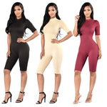 2016 Bodycon Bodysuits Sexy Jumpsuit Knee Length short Sleeve Playsuit Elegant Fintness Rompers And Jumpsuits Ladie JS0011-geekbuyig