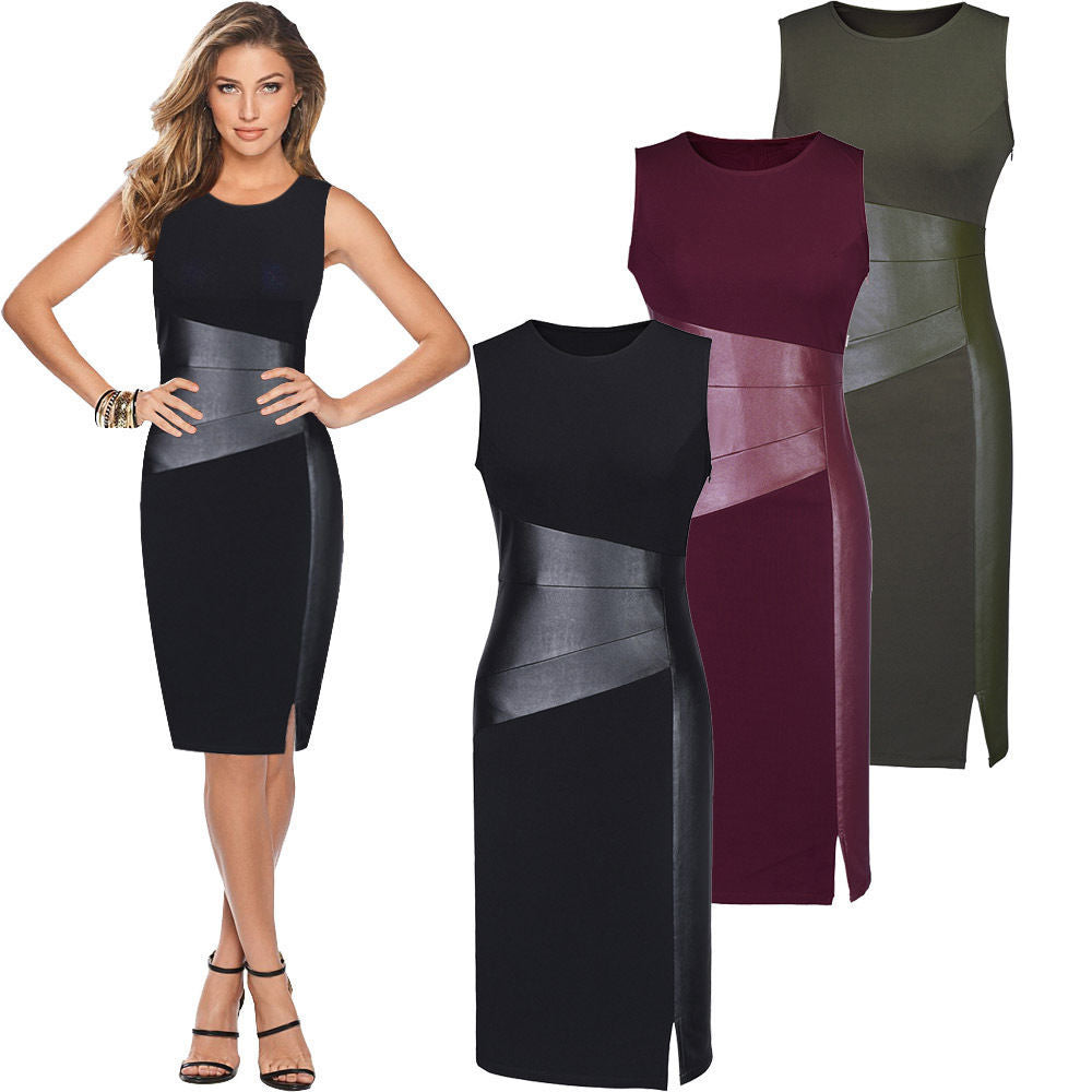 Sexy Women Sleeveless Patchwork PU Leather Dress Wine Red Black Army Green Low Cut Bodycon Evening Party Pencil Dress Clothes-geekbuyig