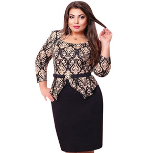 Sping Style Vestidos Party Dresses Large Size Dress Women Plus Size Three Quarter Sleeve Dress Bandage Formal Pencil Dresses-geekbuyig