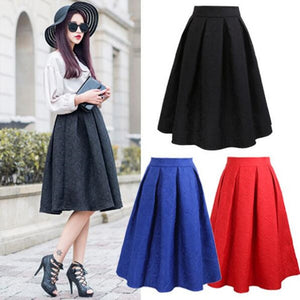 Neophil 2017 Winter Black Red Jacquard Pleated Ball Gown Skater Ladies Midi Skirts Womens Plus Siz Office Wear Tutu Saias S08044-geekbuyig