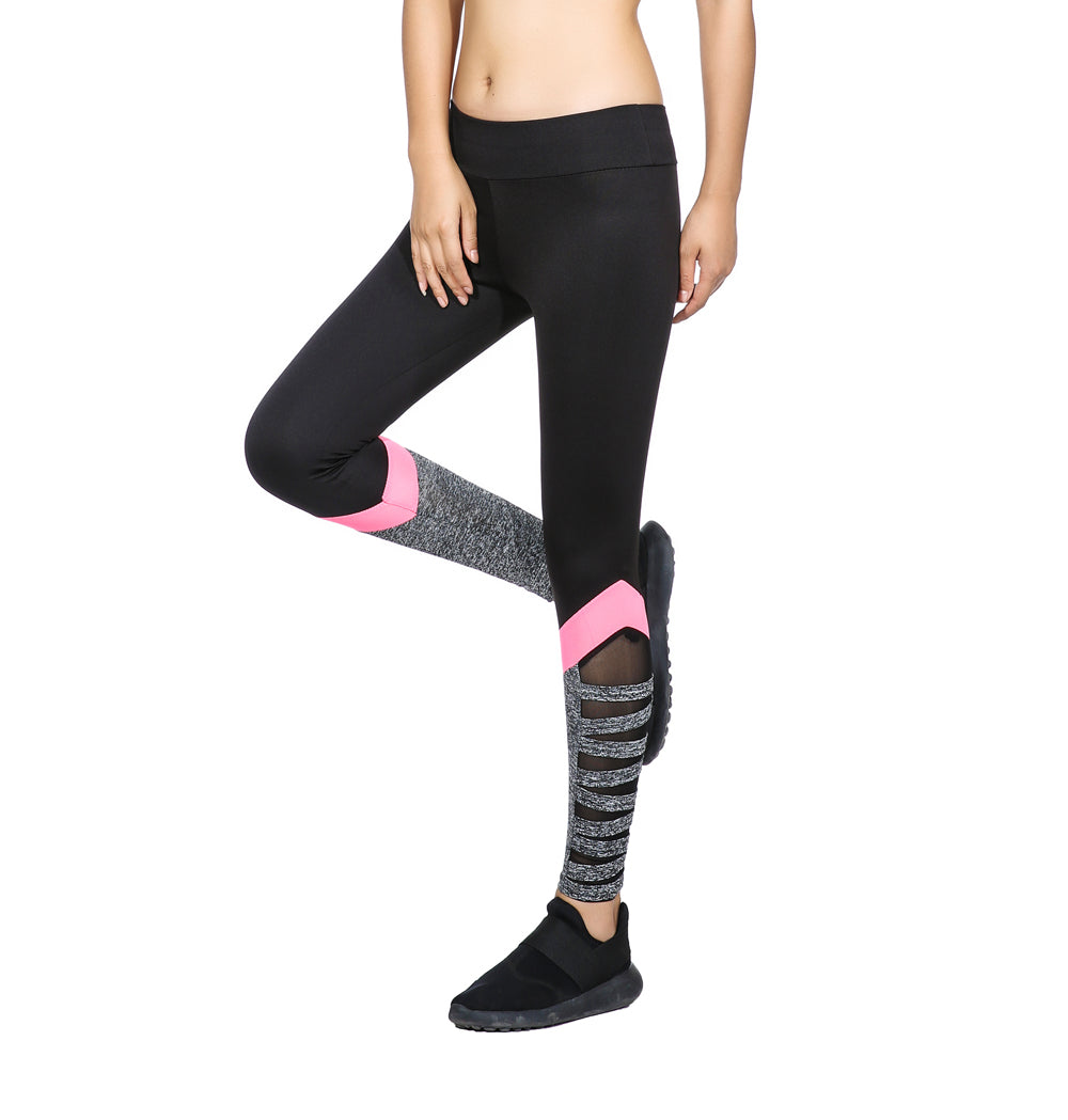 Ao Sheng Women Fitness Legging High Waist Cutout Leggings New Arrival New Styles Black Color With Side Pink Splice Mesh-geekbuyig