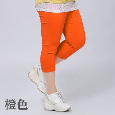 Good Quality Extra Large Size Women Capris Pants Super Stretch Summer Candy Color Plus Size Female Elastic Pants Calf length 6XL-geekbuyig