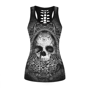 Vintage Skull Printed Women Fitness Tank Tops Gothic Punk Style O Neck Sleeveless Tee Tight Vest Tops Female Sporting Clothing-geekbuyig