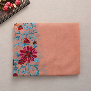 Vintage Women Large Embroidered Cotton Linen Floral Scarf Pashmina Shawl Wrap Scarves-geekbuyig