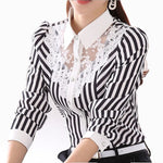 2017 Long Sleeve Lace Tops Striped Blouse Women Spring Autumn Turn-Down Collar OL Blouses Official Female shirt Formal Blouse-geekbuyig