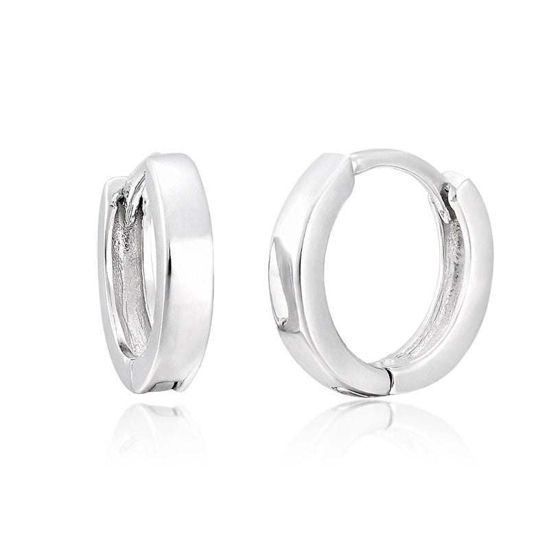 Windshow Real 925 Sterling Silver Circle Loop Slim Small Round Hoop Huggie Earrings for Women Girls Kids Children Jewelry Aros-geekbuyig