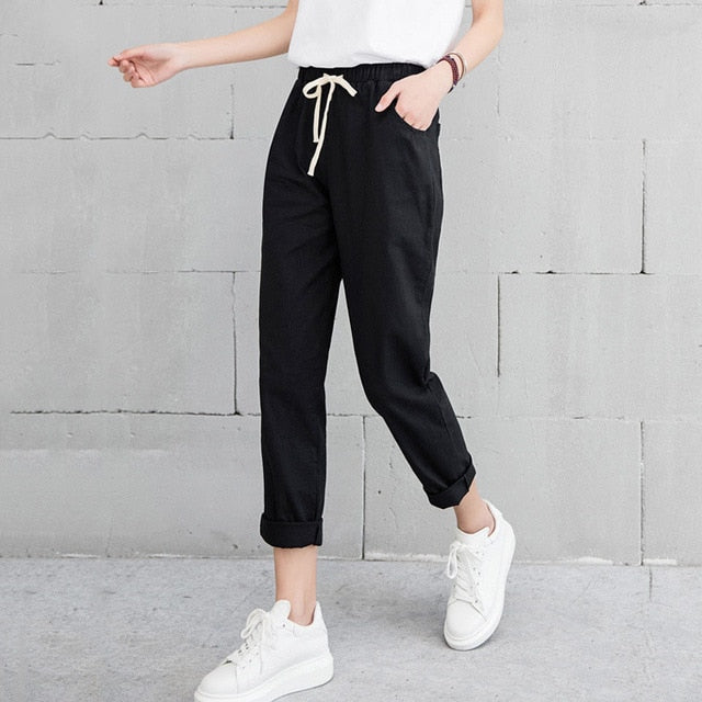 New Women Casual Harajuku Spring Autumn Big Size Long Trousers Solid Elastic Waist Cotton Linen Pants Ankle Length Haren Pants-geekbuyig