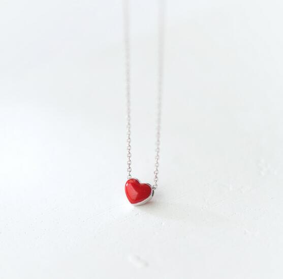 (5mm Tinny Small Heart ) Cute 100% Real. 925 Sterling Silver Jewelry Red Heart Pendants Necklace Rolo Chain GTLX1368-geekbuyig