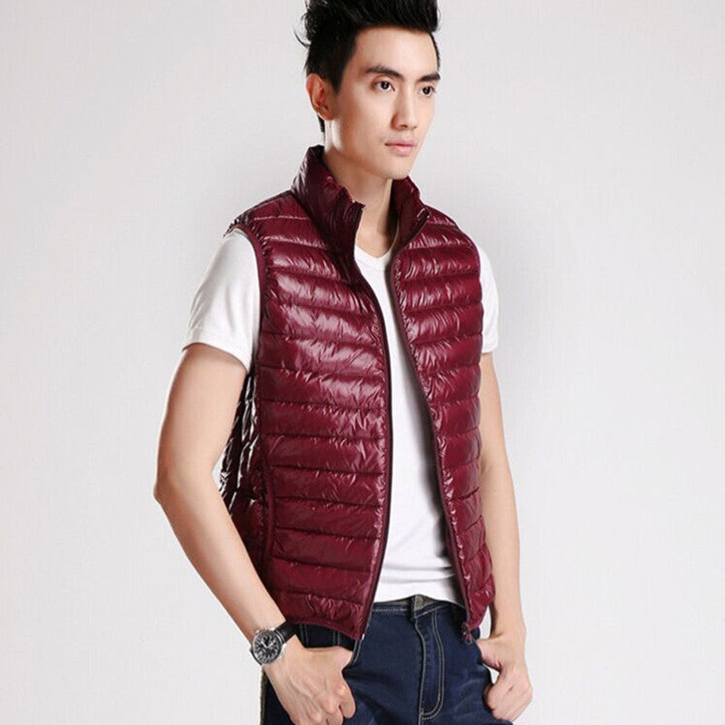 2016 New White Duck Down Stand Collar Vest Waistcoat men Light soft warm Winter Bright men's Vest-geekbuyig
