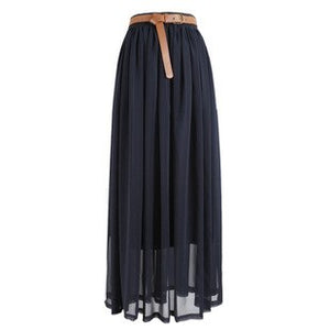 New Brand Fashion Designer Sexy Style Skirt Women Sexy Chiffon Candy Color Long Skirt High Quality Nice designs Hot selling-geekbuyig
