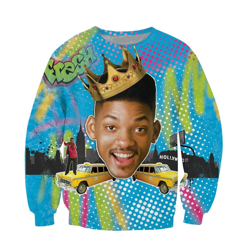 Raisevern Fashion 3D Hoodie Will Smith Fresh Prince of Bel Air Print 3D sweatshirt Long Sleeve Crewneck Tops S-XL Dropship-geekbuyig