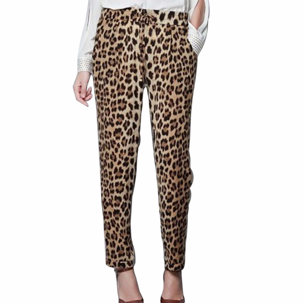 Plus Size S-XXL Summer Leopard Print Harem Pants Loose Casual Trousers Slim Fit Leisure Wear For Women Ladies Pantalon Femme-geekbuyig