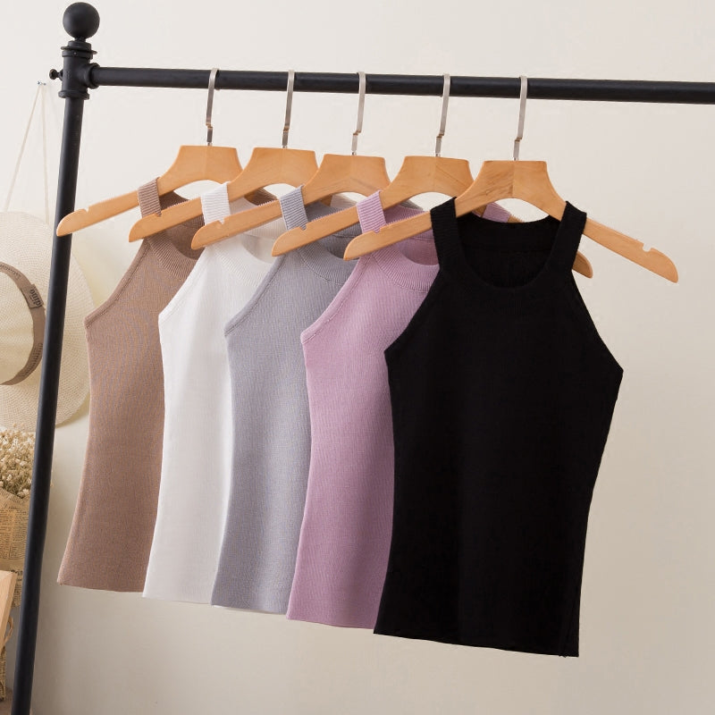 Summer Women Slim Knitting Halter Camisole Tops Female Bodycon Knitted Tanks Sleeveless Basic Solid T shirts 8017-geekbuyig