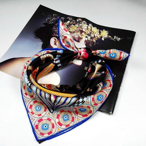 Fashion Printed Bandana Scarf Neckerchief Small Square Silk Scarf Women 100% Silk Twill Scarves & Wraps Foulard-geekbuyig