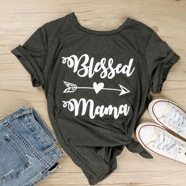 Blessed Mama Letter Printing Women T-Shirt O-Neck Short Sleeve Top Tees Dark Gray Femme Casual Loose Summer t shirt Tops-geekbuyig