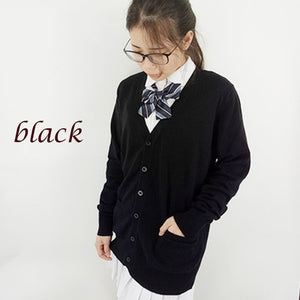 Fashion autumn japanese style students school uniform long sleeve girl cute open cardigan-geekbuyig