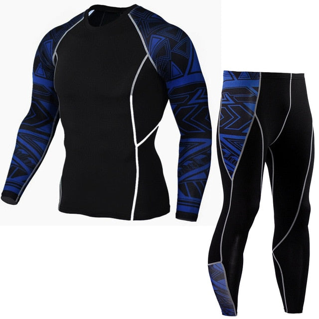Newest Fitness Compression Sets T Shirt Men 3D Printed MMA Crossfit Muscle Shirt Leggings Base Layer Tight Tops-geekbuyig