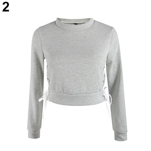 Women Sexy Short Top Long Sleeve Pure Color Pullover Slim Blouse Hoodie Sweather-geekbuyig