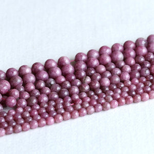 "Natural Genuine Pink Purple Lepidolite Stone Round Loose Gemstone Stone Beads 4-12mm 15"" 05248-geekbuyig"