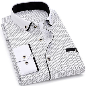 Fashion Print Casual Men Long Sleeve Shirt Stitching Fashion Pocket Design Fabric Soft Comfortable Men Dress Slim Fit Style-geekbuyig