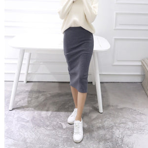 Women Solid Elegant Sexy Split Slim Skirts Hight Waist Kintting Cotton Ladies Summer Skirts Mid-Calf Bodycon Pencil Skirt Saia-geekbuyig