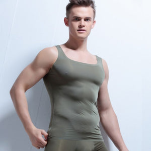 Men tank top bodybuilding clothes thin ice silk slim fit seemless vest men top clothing quick dry 2017 New Fashion-geekbuyig