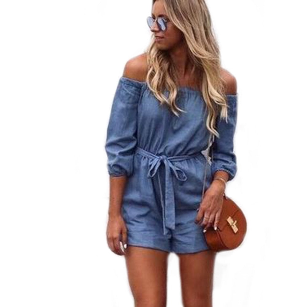 YJSFG HOUSE Elegant Denim Jumpsuit Women Slash Neck Jeans Playsuit Sexy Summer Bodysuit Vintage Casual Shorts Female Overalls-geekbuyig