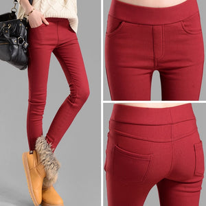 NIJIUDING autumn winter women pants velvet thickening leggings trousers multi size XXXL female warm trousers dropshipping-geekbuyig