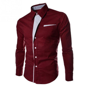 Hot High quality Fashion Stripes Assorted Colors Style Slim Shirt Men Casual Style Long-Sleeve Shirt-geekbuyig