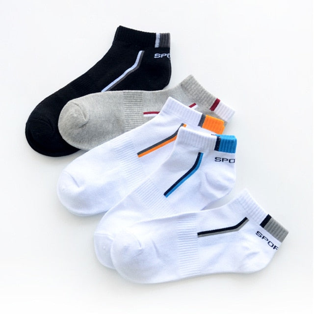 5 Pairs/lot Men Socks Stretchy Shaping Teenagers Short Sock Suit for All Season Non-slip Durable Male Socks Hosiery-geekbuyig