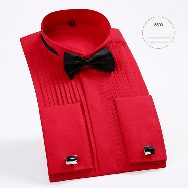New Arrival Men's French Tuxedo Shirt Men Long Sleeve Dress Shirt Mens Solid Color Turn-Down Collar Shirt Formal Male Shirts-geekbuyig