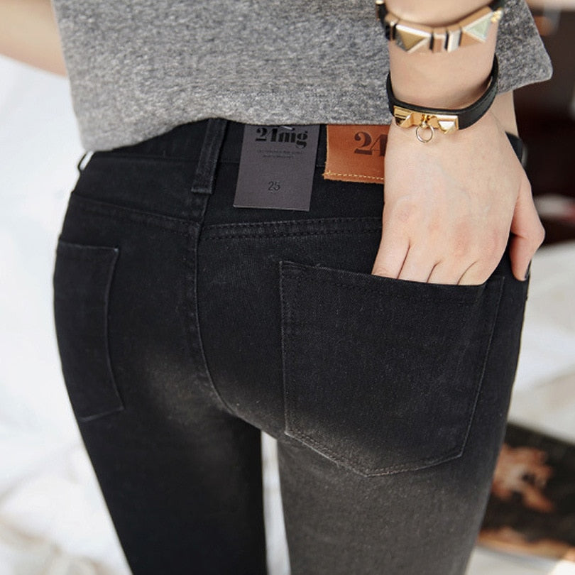 Women jeans In the spring 2017 Black Stretch Jeans new female Korean stretch slim jeans pants feet-geekbuyig