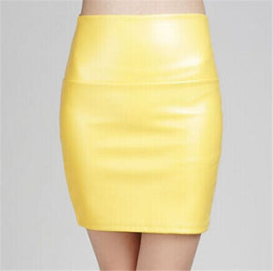 HimanJie Fashion Tight Sexy Women Bodycon Skirt PU Leather Mini Short Skirt Black Pencil Skirts plus size Women Saias Femininas-geekbuyig