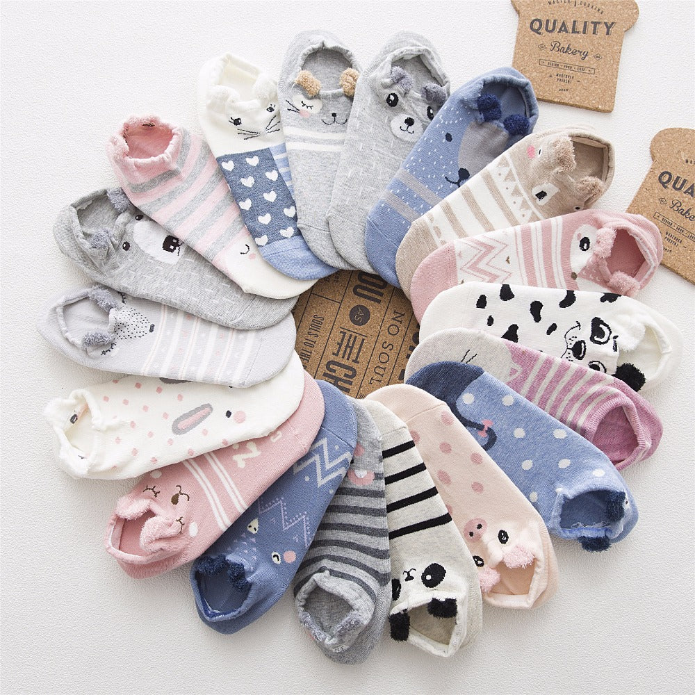 SP&CITY Cute Animal Cotton Socks Female Kawaii Cat With Dog Summer Short Socks Slippers Women Casual Soft Funny Boat Socks-geekbuyig
