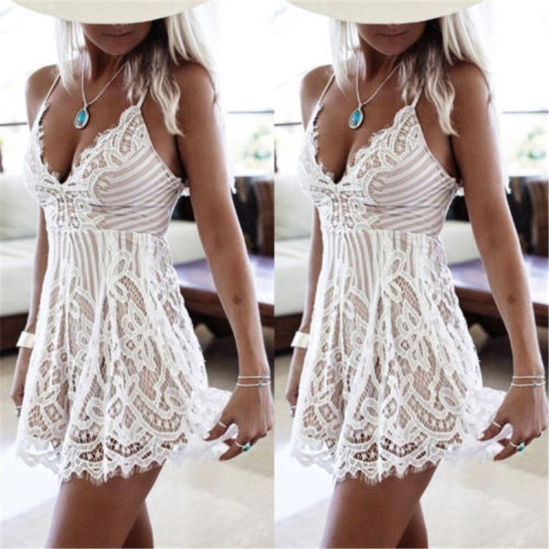 Sexy Women Summer Sleeveless Lace Dress Evening Party Mini Dress 2017 Hot Selling Ladies Summer Dress-geekbuyig