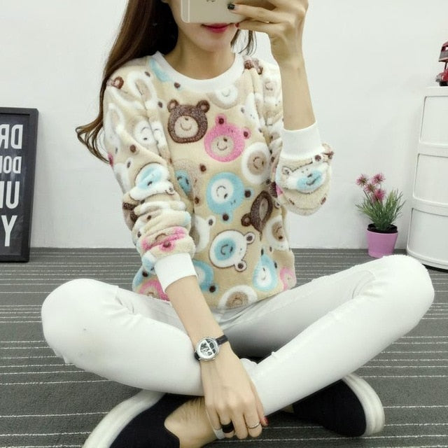 Fashion Alice in Wonderland Cheshire Cat Mike Harajuku 2017 winter Flannel Full sleeve Pullovers tops woman Hoodies Sweatshirts-geekbuyig