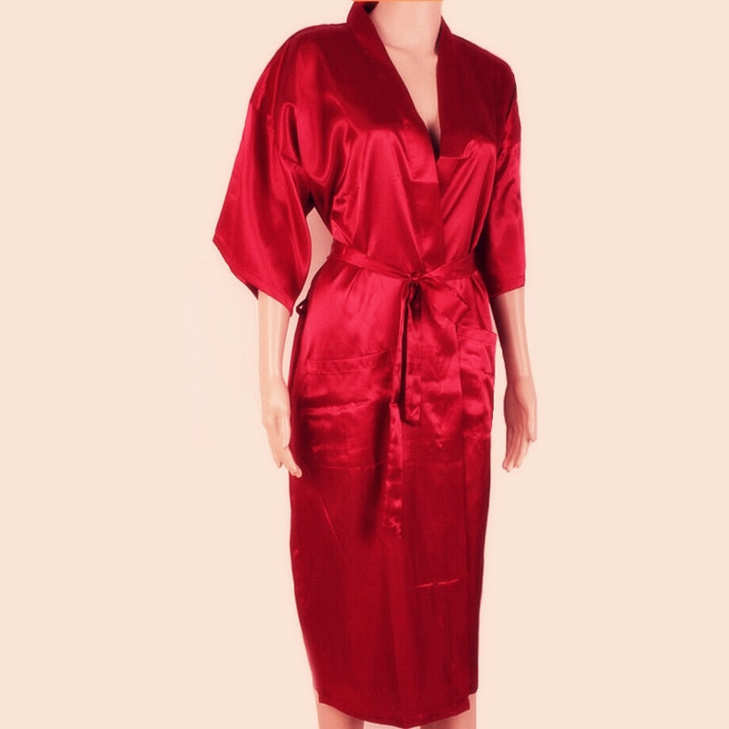 Unisex Red Silk Kimono Robe Bath Gown Chinese Male Long Sleepwear Solid Color Pajama Plus Size S M L XL XXL XXXL NR002-geekbuyig