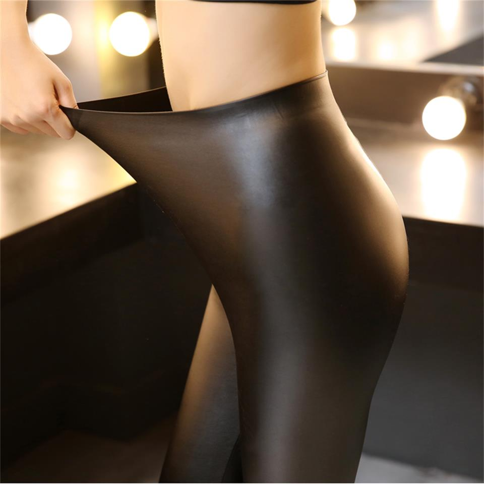 Autumn high waist Slim no trace leather pants female belly pencil wild stretch pu leather outside wearing black leggings-geekbuyig
