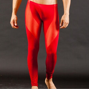Free shipping New Sexy Men Ice Silk Nylon Trousers Thermal Underwear Slim Tight Transparent Gauze Pants Long Johns 5 colors-geekbuyig