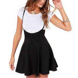 Women Black Skirt with Shoulder Straps Pleated Skirt Suspender Skirts High Waist Mini School Skirt-geekbuyig